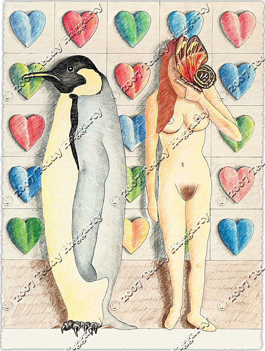 Naked Woman,Penguin and Butterfly